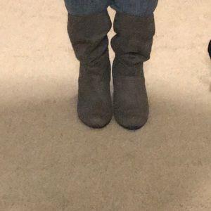 Gray suede mid calf booties
